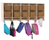 Childcraft Wall Mounted Coat Locker, 10 Cubbies with Baskets, 47-3/4 x 14-1/4 x 19-3/4 Inches Item Number 1473441
