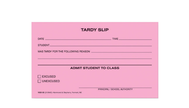 School & Hall Passes and Tardy Slips, Item Number 1473632