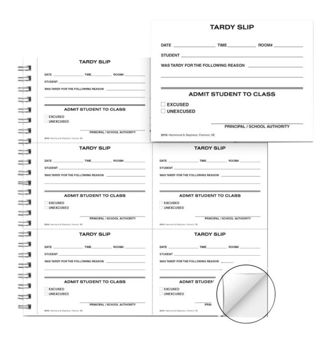 School, Hall Passes, Tardy Slips, Item Number 1473633