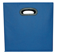 School Smart Collapsible Storage Bin with Oval Grommet, Fabric, Blue/Black Item Number 1475342