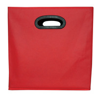 School Smart Collapsible Storage Bin with Oval Grommet, Fabric, Red/Black Item Number 1475343
