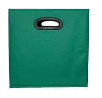 School Smart Collapsible Storage Bin with Oval Grommet, Fabric, Green/Black Item Number 1475344