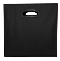 School Smart Collapsible Storage Bin with Oval Grommet, Fabric, Black Item Number 1475347