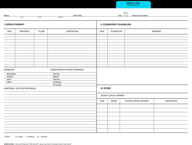 Cumulative Record Folders, Item Number 1485887