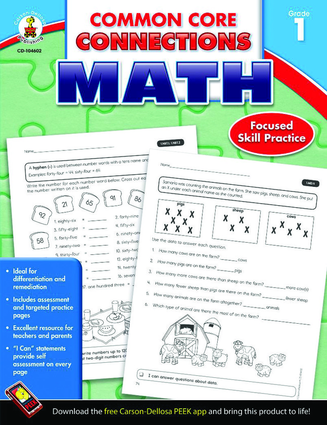 Carson-Dellosa Common Core Connections Math Workbook, Grade 1, Ages 6 - 7,  96 Pages