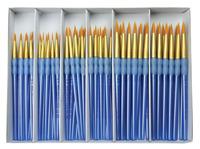 Royal Brush Scholastic Choice Polymer Handle Gold Taklon Round Set, Set of 72 Item Number