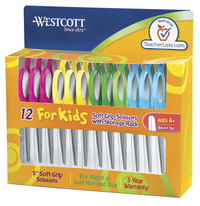 Westcott Soft Grip Blunt Tip Kids Scissors, 5 Inches, Assorted Colors, Set of 12 Item Number