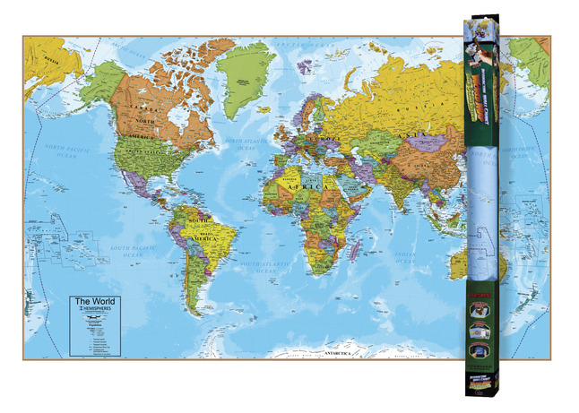Round World Interactive World Map, 32 x 51-1/2 Inches on