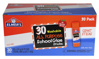 Elmer's Washable School Glue Stick, 0.77 Ounces, Clear, Pack of 30 Item Number 1535940