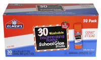 Elmer's Washable School Glue Stick, 0.77 Ounces, Disappearing Purple, Pack of 30 Item Number 1535941