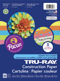 Pacon Tru-Ray Sulfite Construction Paper, Assorted Hot Colors, 50 Sheets Item Number 1537807