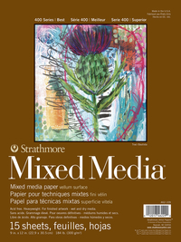 Strathmore 400 Series Mixed Media Pad, 9 x 12 Inches, 184 lb, 15 Sheets Item Number 1540345