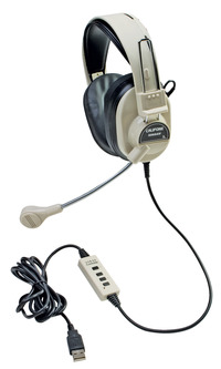 Califone 3066-USB Stereo Headset with USB Plug Item Number 1543853