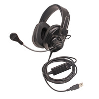 Califone 3066USB-BK Deluxe Multimedia Stereo Headset, USB Connector, Black Item Number 1543918