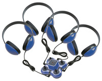 Califone 1114BL-4 Kid First Listening Center, Blue, 4 Headphones and 1 Jackbox Item Number 1544120