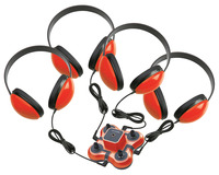 Califone 1114RD-4 Kid First Listening Center, Red, 4 Headphones and 1 Jackbox Item Number 1544121