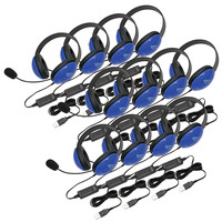 Califone 2800BLUSB-12L Headsets with USB Connector, Blue, Set of 12 Item Number 1544143