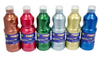 Prang Ready-to-Use Washable Tempera Paint Set, Assorted Metallic Colors, Pint Set of 6 Item Number 1554448