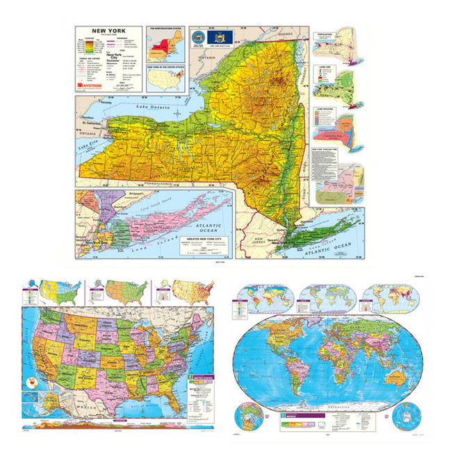 Social Studies NEW YORK/U.S./WORLD MAP COMBO, Markable, Erasable, Grades  4-12