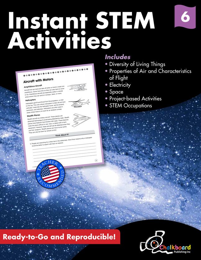 Image for Creative Teaching Press Instant STEM Activities Workbook, 120 Pages, Grade 6 from School Specialty