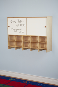 Image for Childcraft Wall Mounted Storage Locker, 10 Cubbies with Clear Trays, 47-3/4 x 13 x 36 Inches from School Specialty