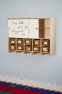 Image for Childcraft Wall Mounted Storage Locker, 10 Cubbies with Baskets, 47-3/4 x 13 x 36 Inches from School Specialty