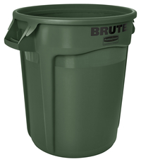 Rubbermaid Commercial BRUTE Garbage Can, Round, Plastic, 32 Gallon, Dark Green Item Number 1568919