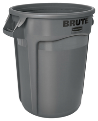 Rubbermaid Commercial BRUTE Garbage Can, Round, Plastic, 32 Gallon, Gray Item Number 1569628