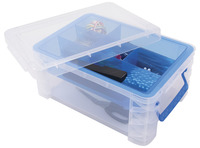 Image for Advantus Super Stacker Divided Supply Box, 14-1/2 x 10-3/10 x 6-1/2 Inches, Clear from School Specialty