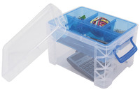 Image for Advantus Super Stacker Divided Storage Box, 10-1/2 x 7-1/2 x 6-1/2 Inches, Clear from School Specialty