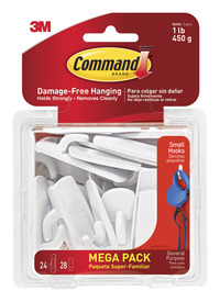 Command Small Utility Hooks and Adhesive Strips, 24 Hooks with 28 Strips Item Number