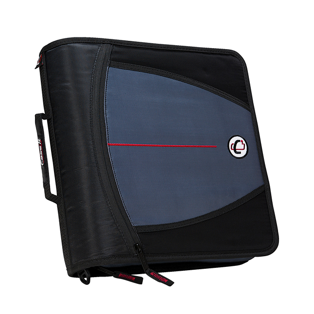 Case-it Mighty Zip Tab O-Ring Binder, Black, 3 Inches