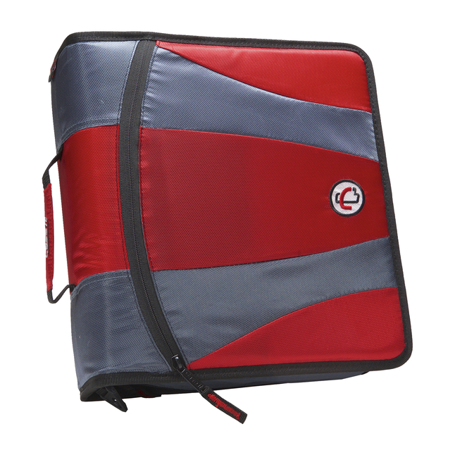 Case-it Dual Ring Zipper Binder, D-Ring, 2 Inches, Red