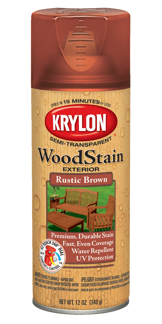 Krylon Semi-Transparent Wood Stain, Rustic Brown, 12 Ounces