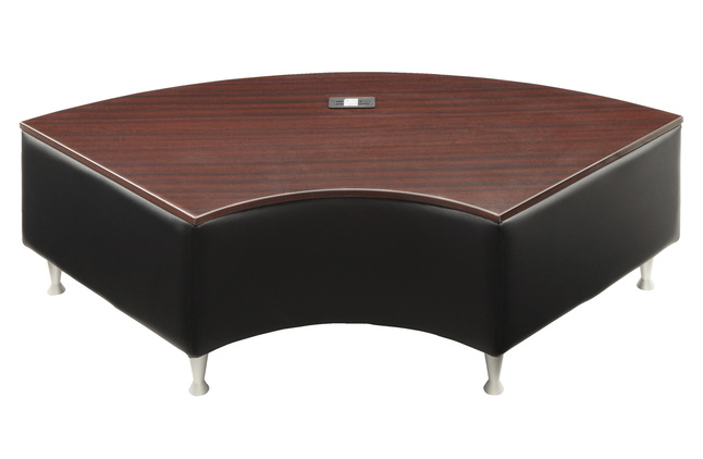 Lorell Fuze Modular Series Black Leather Guest Seating Bench 57 1 2 X 29 1 2 X 18 Inches Mahogany