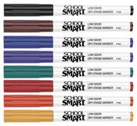 School Smart Dry Erase Pen Style Marker, Fine Tip, Assorted Colors, Set of 8 Item Number 1593097