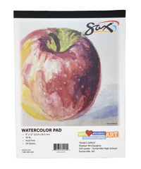 Sax Watercolor Pad, 90 lb, 9 x 12 Inches, White, 24 Sheets Item Number 1594172