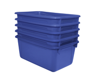 School Smart Stackable Storage Totes, 12 x 8 x 5 Inches, Blue, Pack of 5 Item Number 1594736