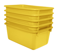 School Smart Stackable Tote Tray, 12 x 8 x 5 Inches, Yellow, Pack of 5 Item Number 1594737