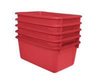 School Smart Stackable Tote Tray, 12 x 8 x 5 Inches, Red, Pack of 5 Item Number 1594738