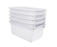 School Smart Stackable Storage Totes, 12 x 8 x 5 Inches, White, Pack of 5 Item Number 1594739