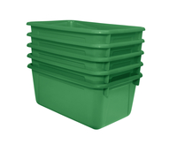 School Smart Stackable Tote Tray, 12 x 8 x 5 Inches, Green, Pack of 5 Item Number 1594740