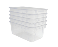 School Smart Stackable Storage Totes, 12 x 8 x 5 Inches, Translucent, Pack of 5 Item Number 1594741