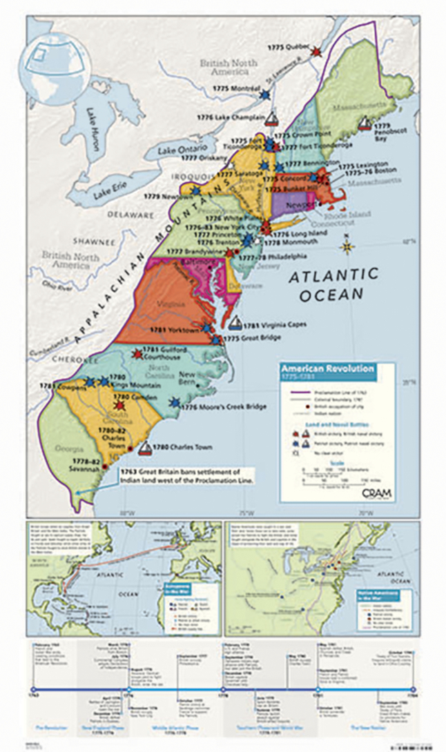 American Revolution Map Cram American Revolution Map, 32 x 54 inches