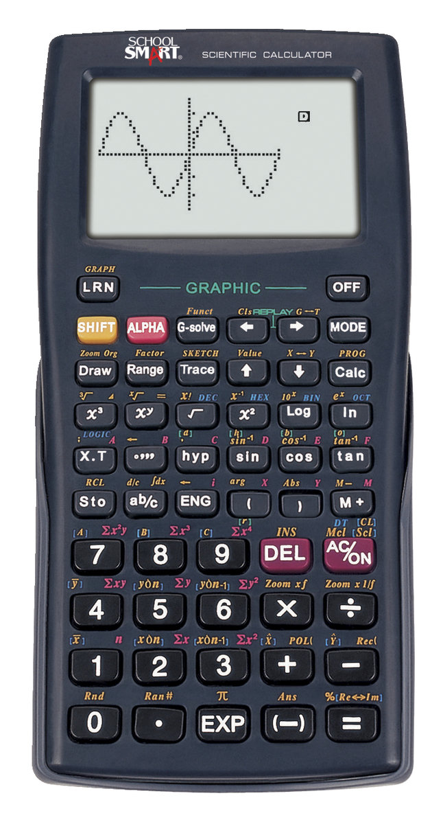 School Smart Graphing Calculator 5 1 8 X 3 4 Inches 10 2 Dot Matrix