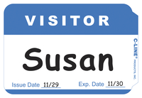 C-Line Visitor Name Badge Labels, Blue Border, 3-1/2 x 2-1/4 Inches, Pack of 100 Item Number