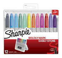 Sharpie Fine Permanent Markers with Hard Case, Vibrant Colors Assorted Set of 12 Item Number