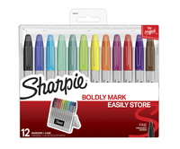 Sharpie Fine Permanent Markers with Hard Case, Original Colors Assorted Set of 12 Item Number