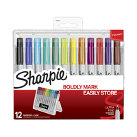 Sharpie Ultrafine Permanent Markers with Hard Case, Original Colors Assorted Set of 12 Item Number