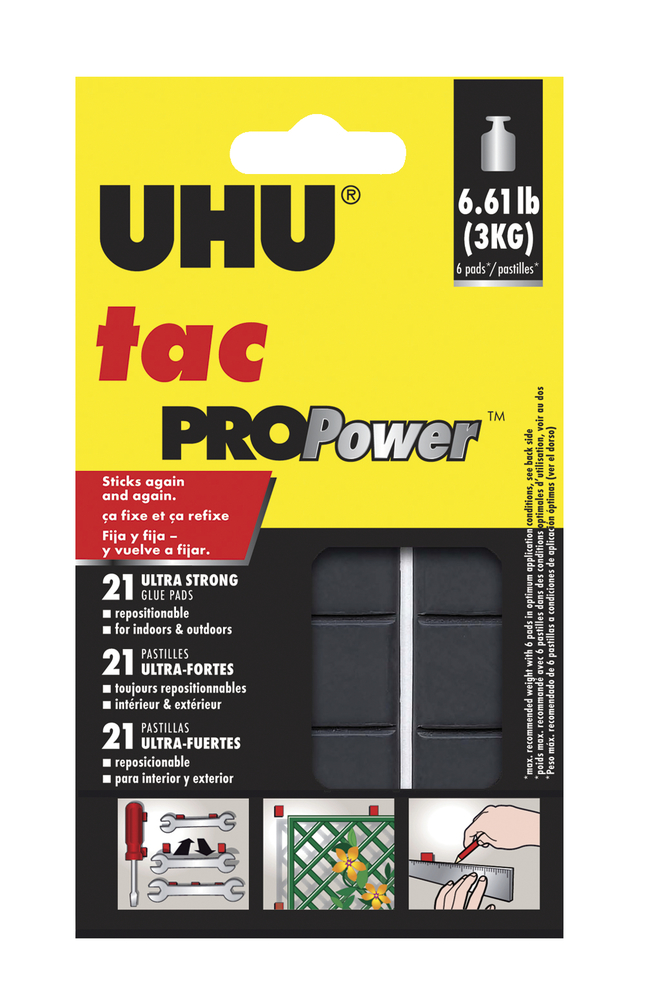 UHU Tac ProPower Mounting Adhesive Putty Pads, Black, Pack of 21